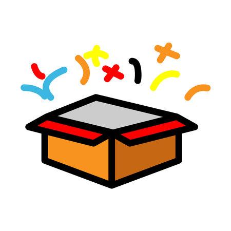 Open gift box lineal color icon. surprise icon. simple design editable. Design template vector