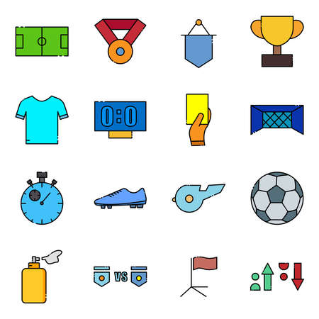 Soccer lineal color icon set. Included the icons as soccer field, ball, uniform, substitution, Whistle, trophy and more. simple design editable. Design template vector