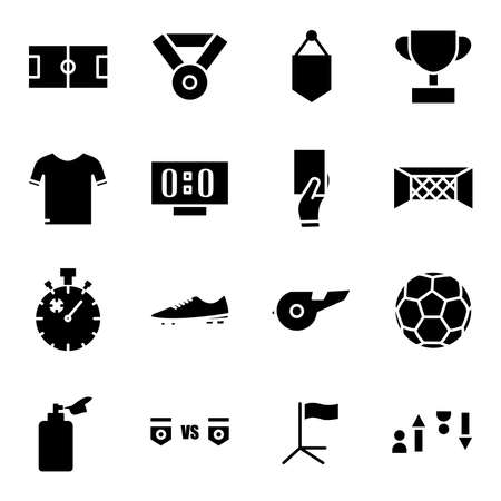 Soccer icon set. Included the icons as soccer field, ball, uniform, substitution, Whistle, trophy and more. simple design editable. Design template vector Иллюстрация