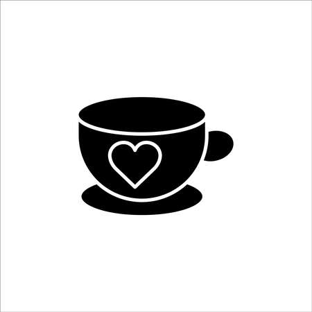 Coffee cup icon with heart. simple design editable. Design template vector