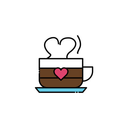 Coffee cup lineal color icon with heart. simple design editable. Design template vector