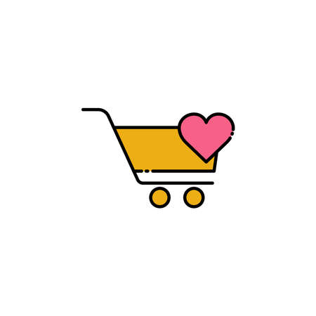 Shopping cart lineal color icon with heart. simple design editable. Design template vector