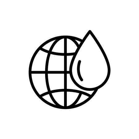 Earth line icon with water drop. wetlands icon. simple design editable. Design template vector