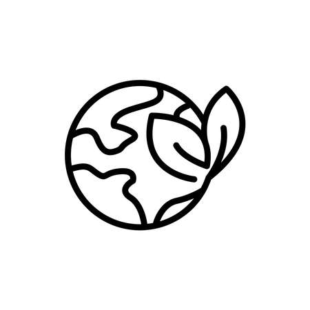 Earth line icon with leaf. planting trees symbol, wetlands. simple design editable. Design template vector