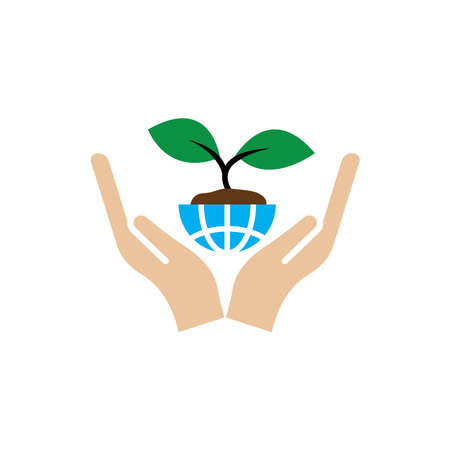 Hand flat icon with earth and plant. simple design editable. Design template vector