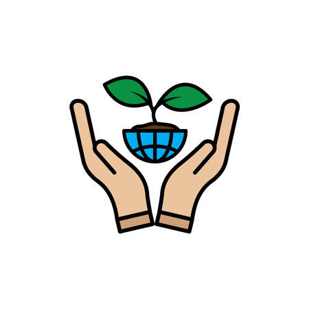 Hand lineal color icon with earth and plant. simple design editable. Design template vector Vektorgrafik