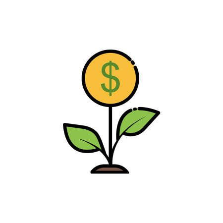 Plant lineal color icon with money. Economic growth, flowers, financial growth icons. Internet concept symbol for website button or mobile app. simple design editable. Design template vector Ilustracja