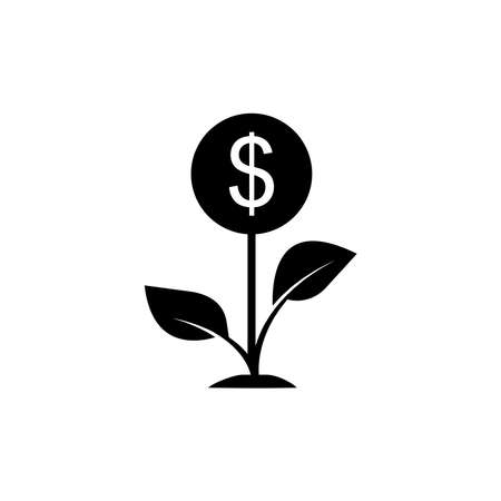 Plant icon with money. Economic growth, flowers, financial growth icons. Internet concept symbol for website button or mobile app. simple design editable. Design template vector