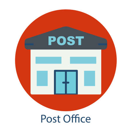 Post office flat icon. the icon can be used for application icon, web icon, infographics. Editable stroke. Design template vector