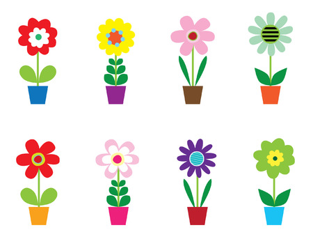 Bloemen in potten  Stock Illustratie