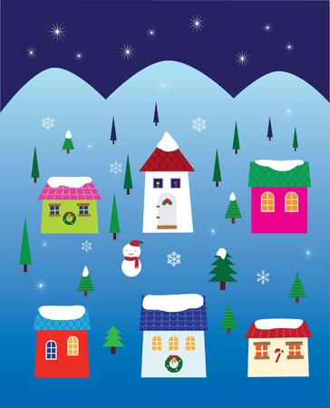 Christmas Night Neighborhood Stock Vector - 5783949