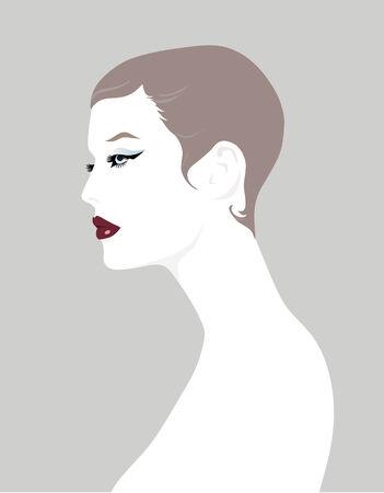 Korte Hair Girl profiel Stock Illustratie