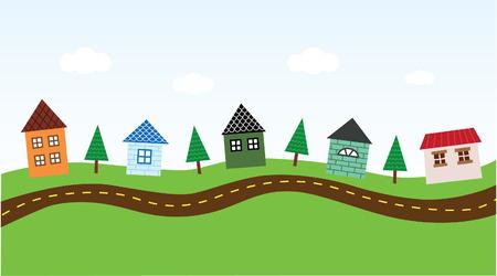 row of houses: Encantador entorno a lo largo de la carretera Vectores