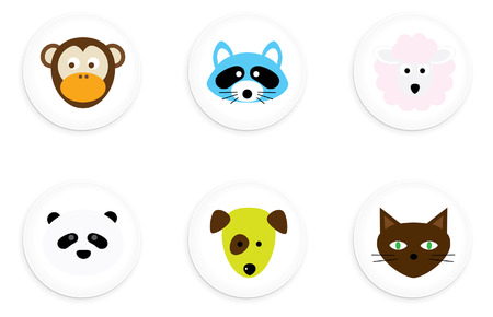 Animal Buttons Illustration