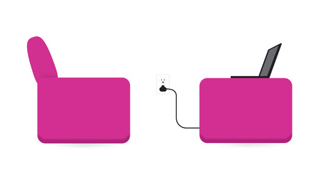 upholstered: Laptop, Pink Chairs, and Power Outlet