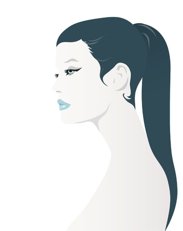 ponytail: A Girl With Ponytail  Illustration