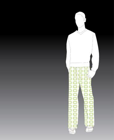 Young Man In Lime groen broek Patterned
