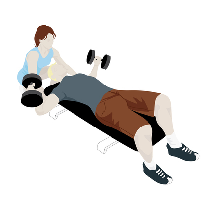Female Personal Trainer Helping Her Client Illustration