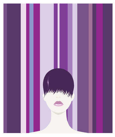 Bob Hair-styled Model With Retro Background Illustration
