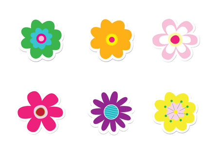 Flower Stickers Stock Vector - 5820273