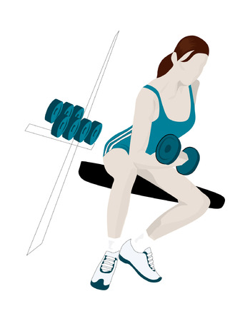Female Gym Member Doing Weights On A Bench Illustration