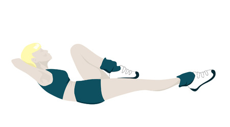Female Gym Member Doing Abs Crunches Illustration