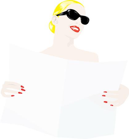 Blonde vrouw met zonnebril