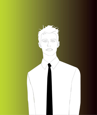 Man With Black Tie, Gradient Background