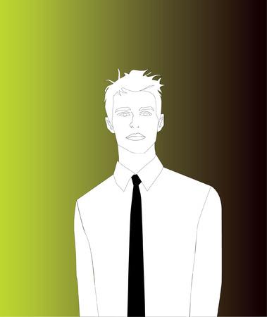 Man With Black Tie, Gradient Background Vector