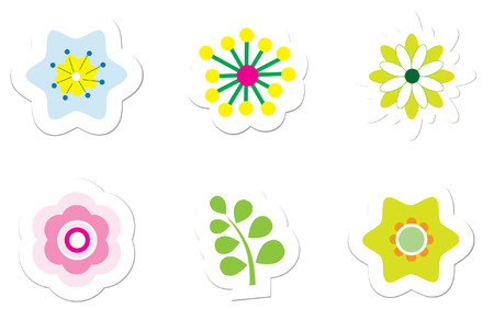 Flower Stickers Stock Vector - 5820286