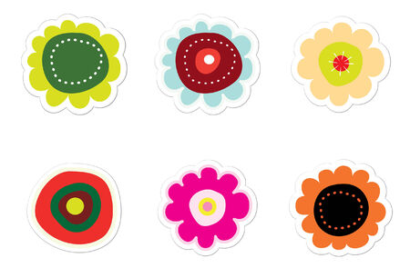 Hand-drawn Style Flower Stickers  イラスト・ベクター素材