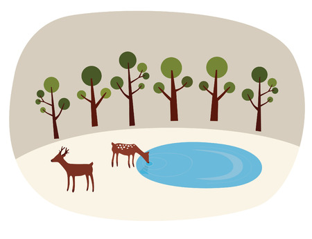 Deer Couple Illustration