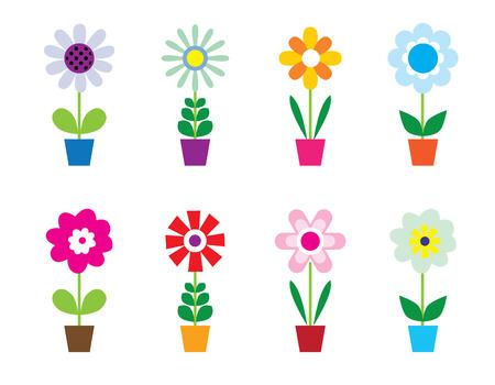 Flowers In Pots Vettoriali