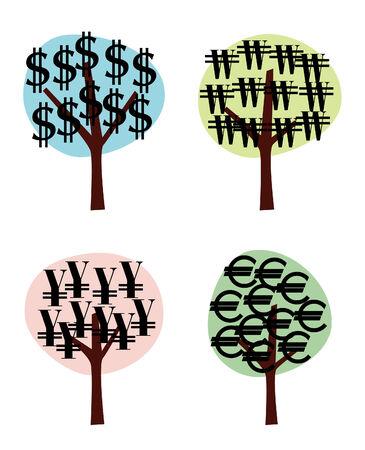 us coin: �rboles de dinero  Vectores