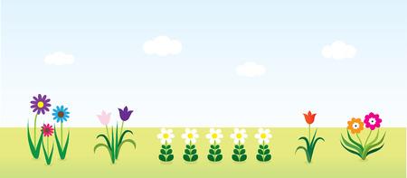 Landscape Background With Flowers Illustration