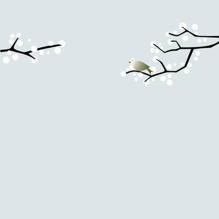 Bird op een tak Stock Illustratie