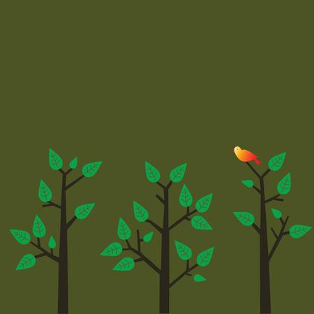 Rode vogel op een boom