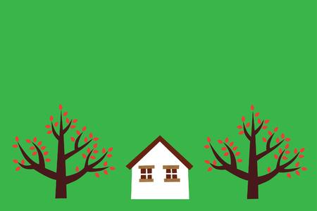 Huis met bomen  Stock Illustratie