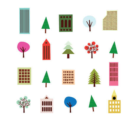 Highrise Building And Tree Set Stock Vector - 5820259