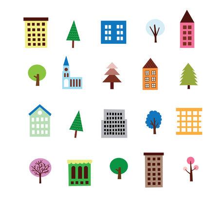Highrise Building And Tree Set Illustration