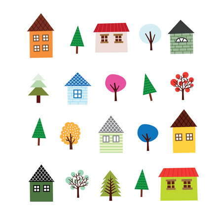 proprietary: Highrise Building And Tree Set Illustration
