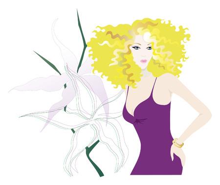 Blonde vrouw in Cocktail Jurk