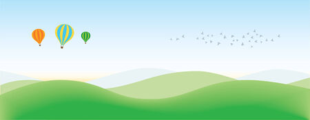 Achtergrond van het landschap met ballonnen en vogels  Stock Illustratie