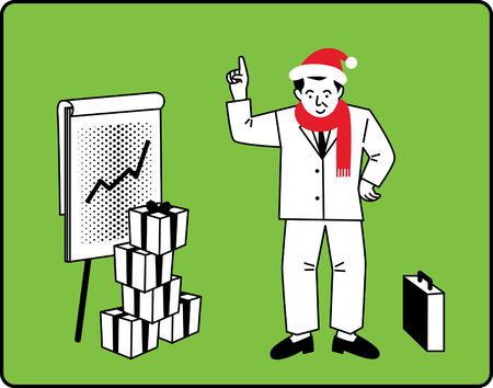 Businessman Christmas Presentation Stock Vector - 5820268