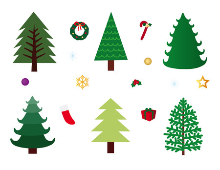 winter tree: Christmas Trees and Deco Set Illustration
