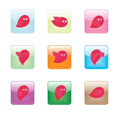 Bird Character Glossy Buttons