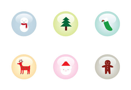 Glossy Christmas Buttons Illustration