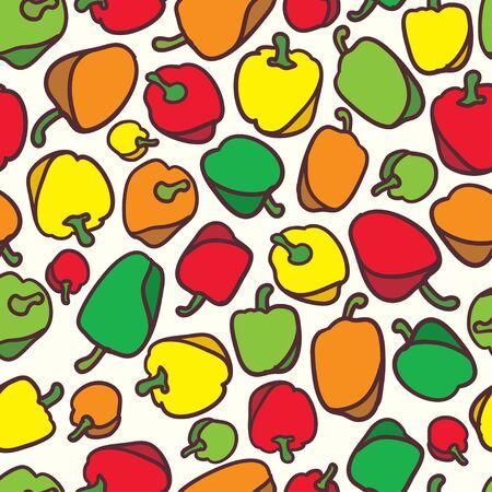 bell pepper: Seamless vegetables bell pepper pattern background vector Illustration