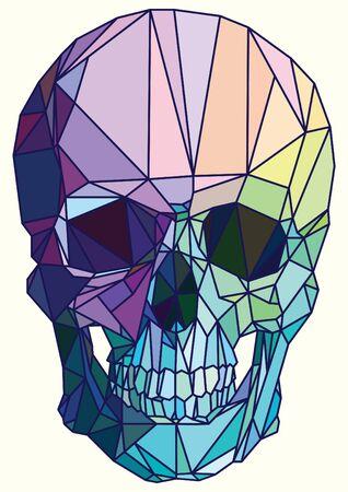 calavera: Low-poli cráneo geométrico colorido del arte del vector Vectores