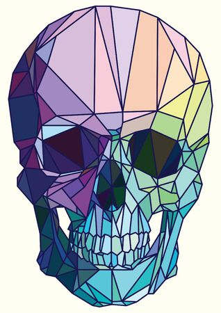 skull design: Low-poly colorful geometric skull art vector
